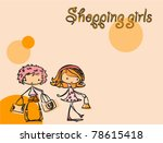 cartoon fashionable girls | Shutterstock .eps vector #78615418