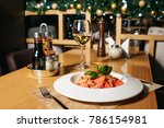 pasta tagliatelle with tomatoes ... | Shutterstock . vector #786154981