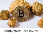 gold coin bitcoin. a mound of...   Shutterstock . vector #786157297