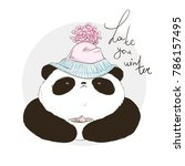 panda in hat with bubo with... | Shutterstock .eps vector #786157495