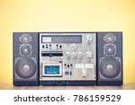 retro outdated stereo boombox... | Shutterstock . vector #786159529