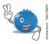 two finger blueberry character... | Shutterstock .eps vector #786178894