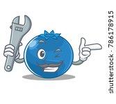 mechanic blueberry character... | Shutterstock .eps vector #786178915