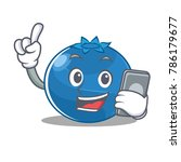 with phone blueberry character... | Shutterstock .eps vector #786179677