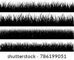 set of solid black grass... | Shutterstock .eps vector #786199051