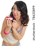 happy young woman and tasty... | Shutterstock . vector #78620899