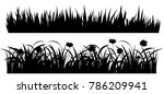 set of solid black grass... | Shutterstock .eps vector #786209941