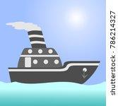 cargo ship in the open ocean | Shutterstock .eps vector #786214327