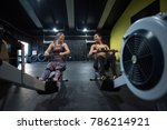 women training rowing in gym... | Shutterstock . vector #786214921