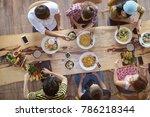top view of happy people...   Shutterstock . vector #786218344