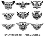 set of winged emblems with... | Shutterstock .eps vector #786220861