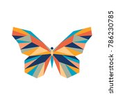 Stock vector vector abstract polygon butterfly the geometric colorful symbol of a insect 786230785
