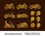 handrawn vintage motorcycle and ... | Shutterstock .eps vector #786235321