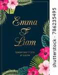 tropical wedding invitation... | Shutterstock .eps vector #786235495