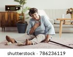 disabled elder lady sitting on... | Shutterstock . vector #786236119