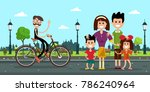 man in bicycle with family on... | Shutterstock .eps vector #786240964