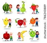 cute little kids having fun and ... | Shutterstock .eps vector #786243889