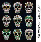 Mexican sugar skulls with floral pattern set, Day of The Dead vector Illustration