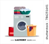 laundry room with washing... | Shutterstock .eps vector #786251641