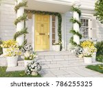 3d rendering. spring decorated... | Shutterstock . vector #786255325
