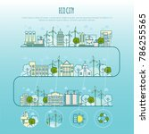 ecology city infographic.... | Shutterstock .eps vector #786255565