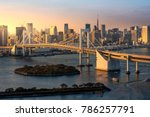 tokyo skyline with beautiful... | Shutterstock . vector #786257791