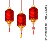 set of red chinese lanterns for ... | Shutterstock . vector #786263251