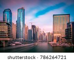 dubai marina skyline at sunset... | Shutterstock . vector #786264721
