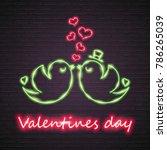 happy valentines day neon light ... | Shutterstock .eps vector #786265039