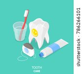 tooth care flat isometric... | Shutterstock .eps vector #786266101