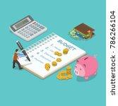family budget flat isometric... | Shutterstock .eps vector #786266104