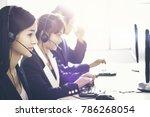 employee operator young asians...   Shutterstock . vector #786268054