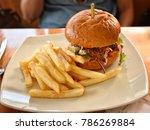 burger  pork burger  sydney ... | Shutterstock . vector #786269884
