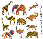 Stock vector set of african animals made of ethnic textures 78627868