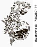 hand drawn magic bottle. vial... | Shutterstock .eps vector #786287479