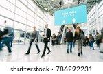 blurred people at a trade fair... | Shutterstock . vector #786292231