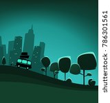 vector cartoon town to country... | Shutterstock .eps vector #786301561