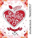 happy valentines day hand drawn ... | Shutterstock .eps vector #786302917