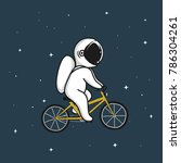 funny astronaut rides on... | Shutterstock .eps vector #786304261