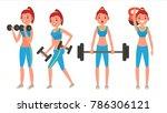 fitness girl vector. different... | Shutterstock .eps vector #786306121