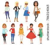 set of attractive girls in... | Shutterstock .eps vector #786314065