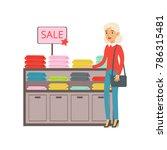 senior woman choosing clothing...   Shutterstock .eps vector #786315481