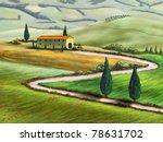 farmland in tuscany  italy.... | Shutterstock . vector #78631702