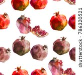 pomegranaes watercolor on white ... | Shutterstock . vector #786320521