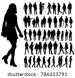 isolated silhouette people  set | Shutterstock .eps vector #786323791