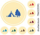 stylized icon of tourist tent.... | Shutterstock .eps vector #786325591
