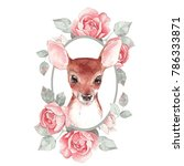 Baby Deer And Flowers. Hand...