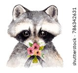 Stock photo cute baby raccoon with flowers watercolor illustration 786342631