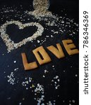heart symbol from oatmeal on... | Shutterstock . vector #786346369