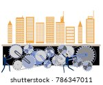urban structure and gear clip... | Shutterstock .eps vector #786347011